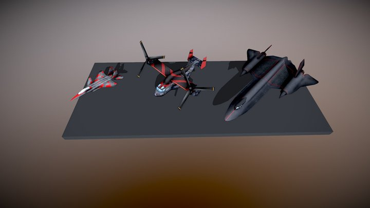 LowPoly Planes 3D Model