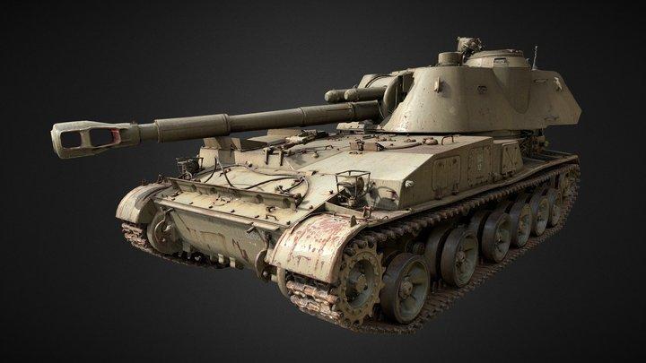 Tank HQ 3DScan : Soviet 2S3 3D Model