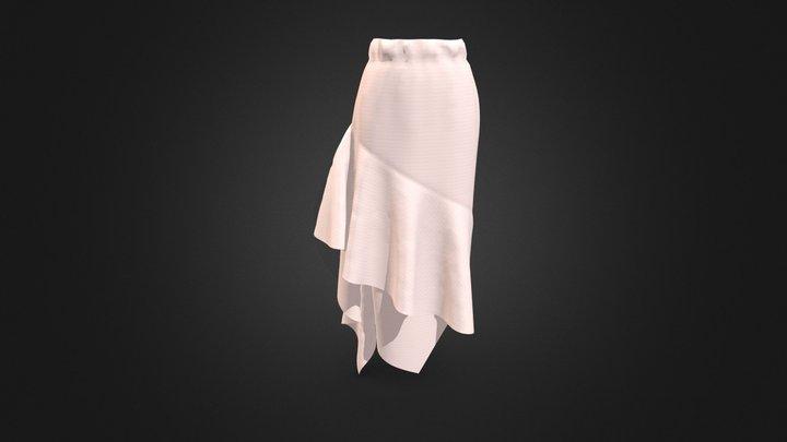 Women's Unbalanced Ruffle Long Skirt 3D Model
