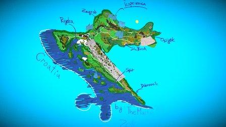 Map of Croatia Tiltbrush 3D Model