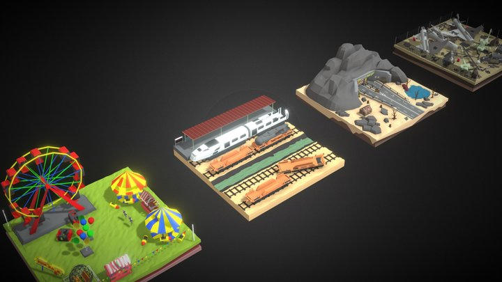 Polygon Zombie Environment Combo Pack 3D Model