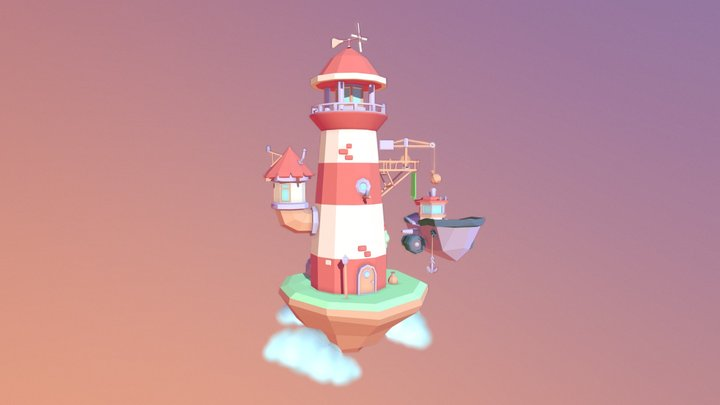 Lighthouse in the sky 3D Model