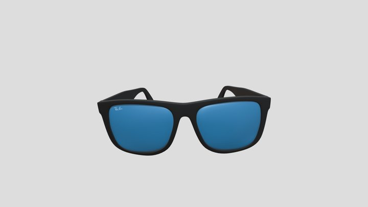 Fashion RayBan Sunglasses with Blue Mirror 3D Model