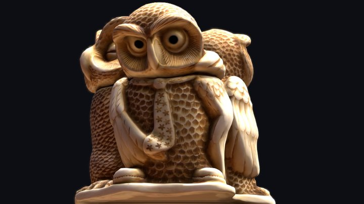 Three Owls 3D Model