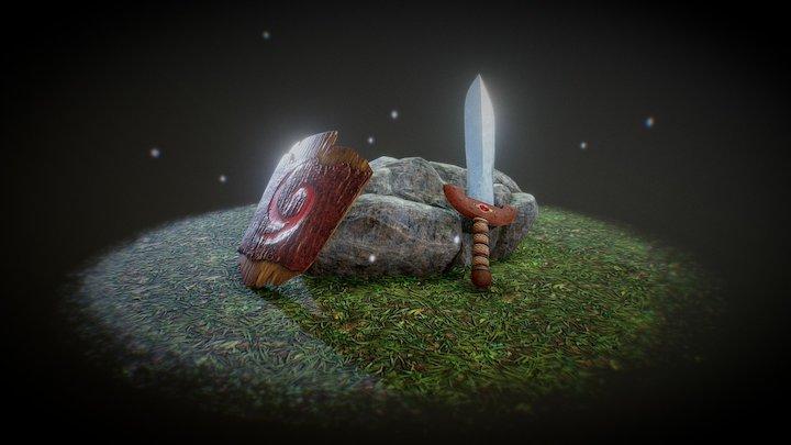 Deku Shield And Kokiri Sword 3D Model