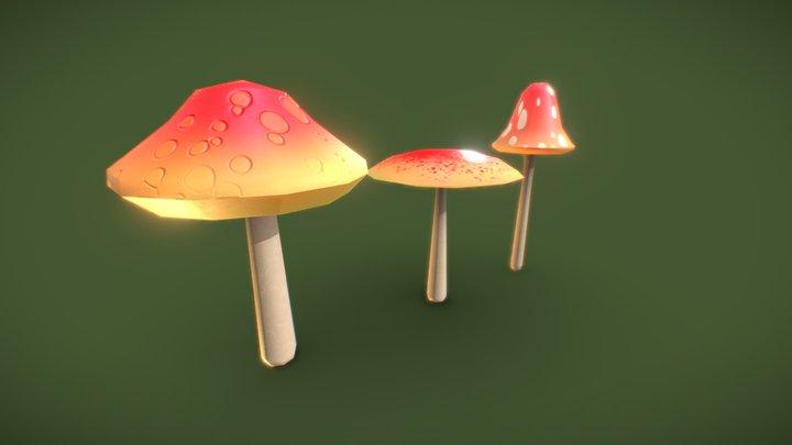 Three Stylized Mushrooms 3D Model