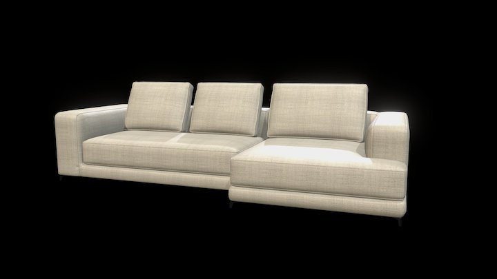 Christian Sofa with Chaise Longue 3D Model