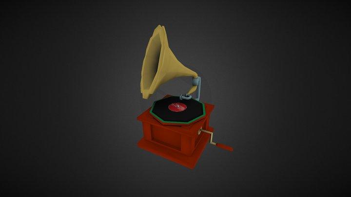 Low Poly Gramophone 3D Model