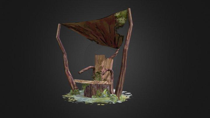Old stump garden seat 3D Model