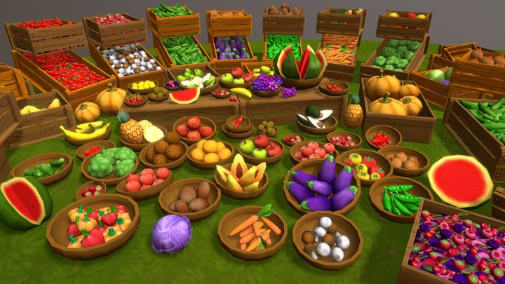 Lowpoly Fruits And Vegetables Props 3D Model