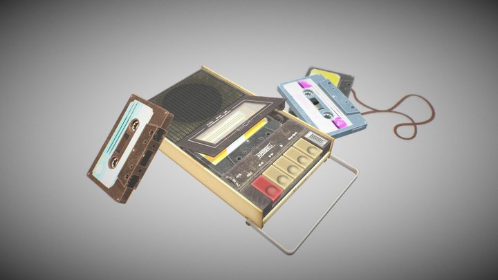 handpainted Recorder with tapes 3D Model