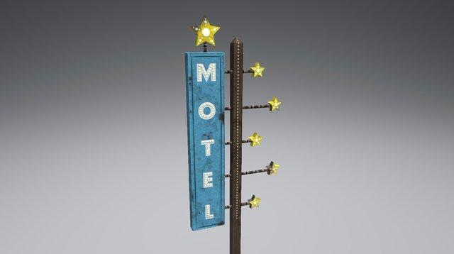 Vintage Starlit Motel Sign 3D Model