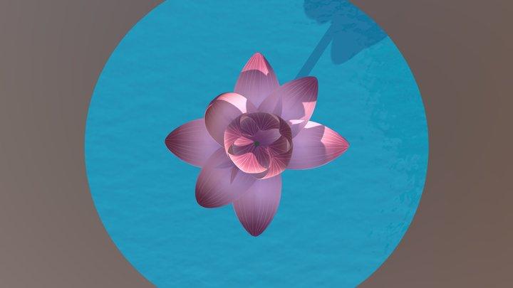 Blooming Lotus Flower 3D Model