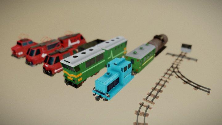 LowPoly PBR Railroad Pack 3D Model