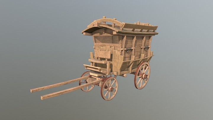 Old woodden carriage 3D Model