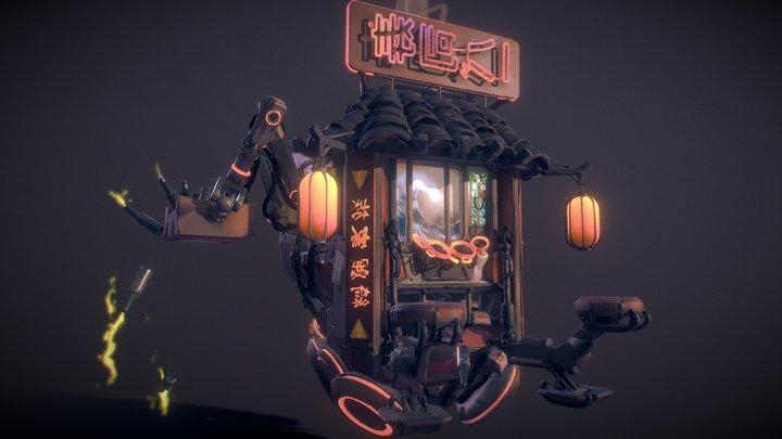 Neon Slums - Mobile Vending Bar 3D Model