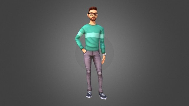 Retro/Playstation Character-Portrait 3D Model