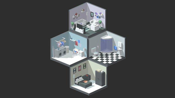 Isometric Rooms 3D Model