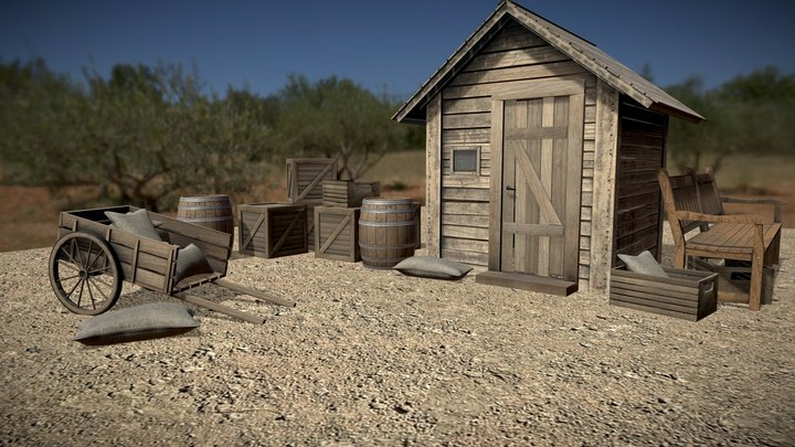 Wild West_small wooden house scene 3D Model