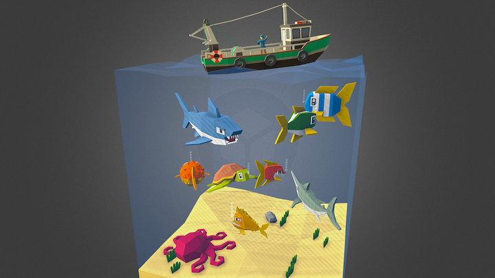 Cubical Fish 3D Model