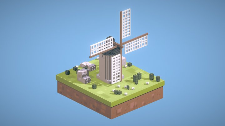 Low Poly Windmill 3D Model
