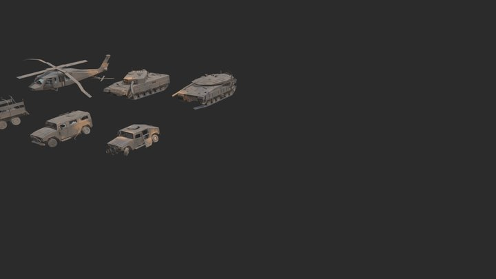 Low Poly Destroyed Military vehicles 3D Model