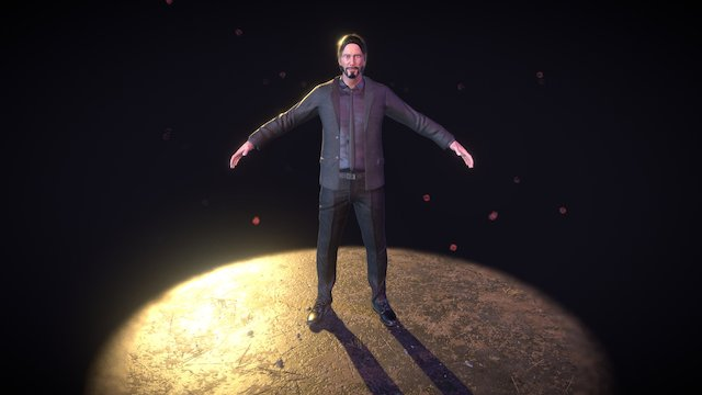 John Wick A-Pose 3D Model