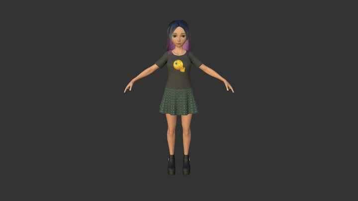 Girl with colorful hair 3D Model