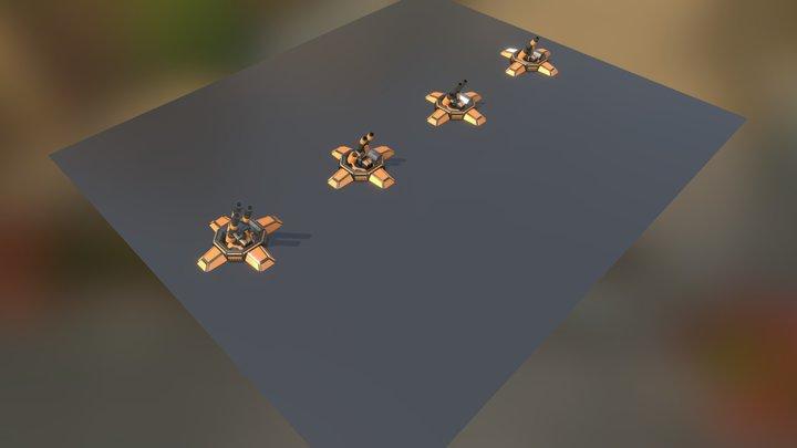 SciFi Turrets Set 5 - auto mortar 3D Model