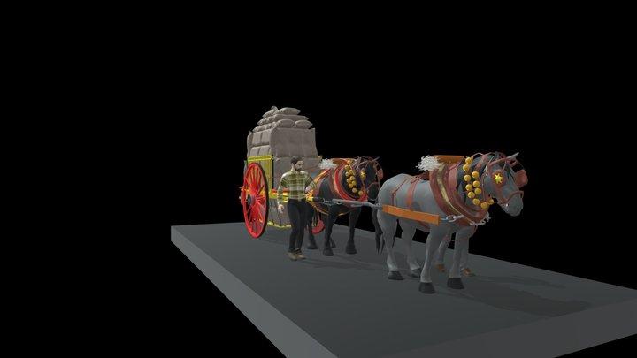 CARRO DE PAGÈS TIRAT PER DOS CAVALLS 3D Model