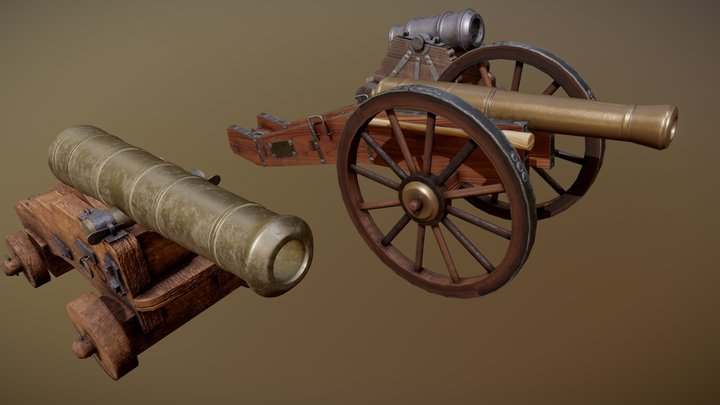 Realistic Medieval Cannons Pack 3D Model