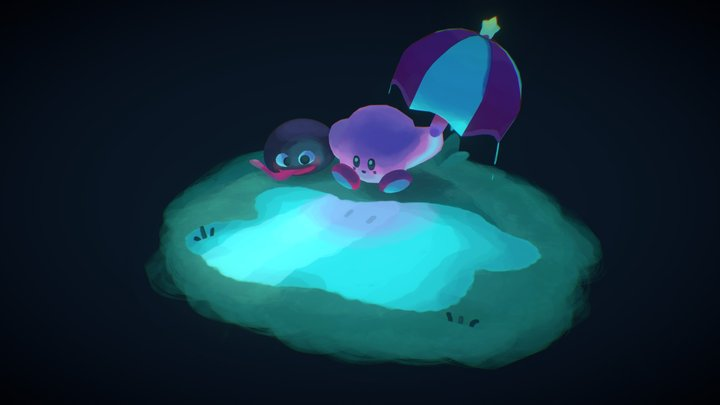 Kirby and Gooey 3D Model