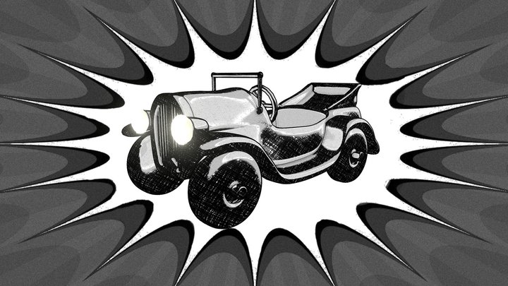 Vintage Cartoon Car 3D Model