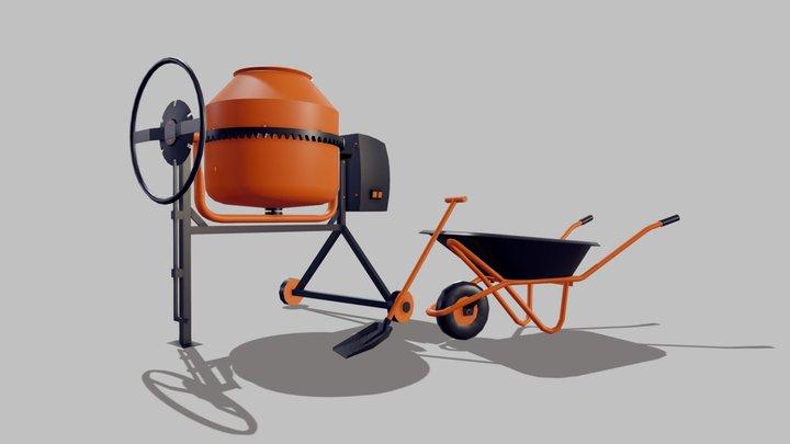 3 low-poly: mixer, wheelbarrow, shovel 3D Model