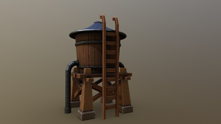 Stylized Water Tower Low 3D Model