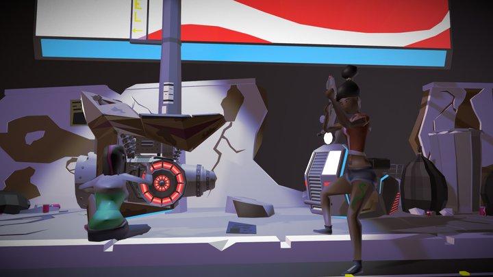 Cyberpunk low poly scene 3D Model