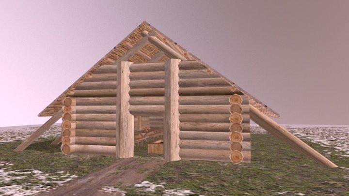Simple Viking Long Hall 3D Model