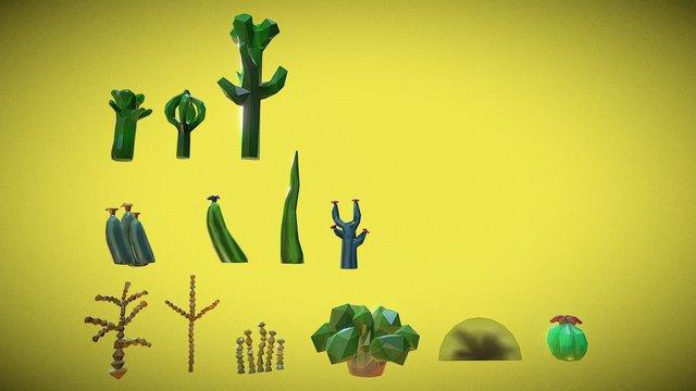 Desert Plants 3D Model