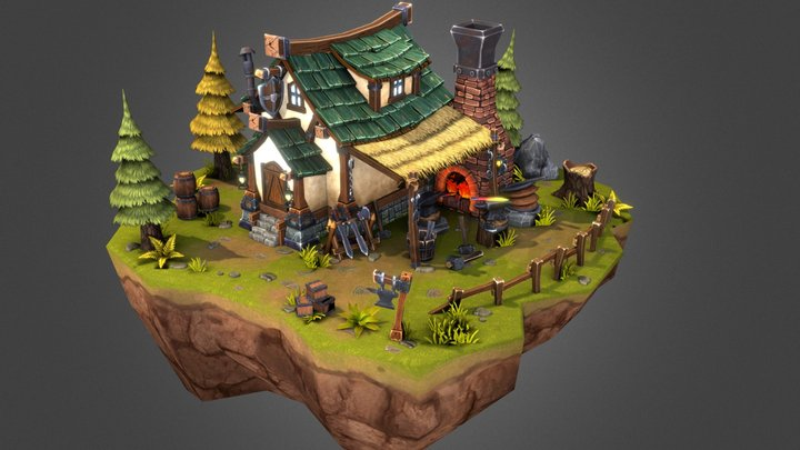 Fantasy Blacksmith 3D Model