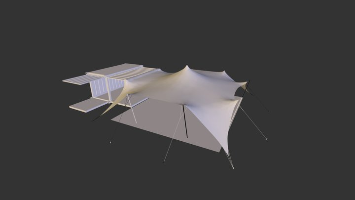 Stretch Tent with Container.3DS 3D Model