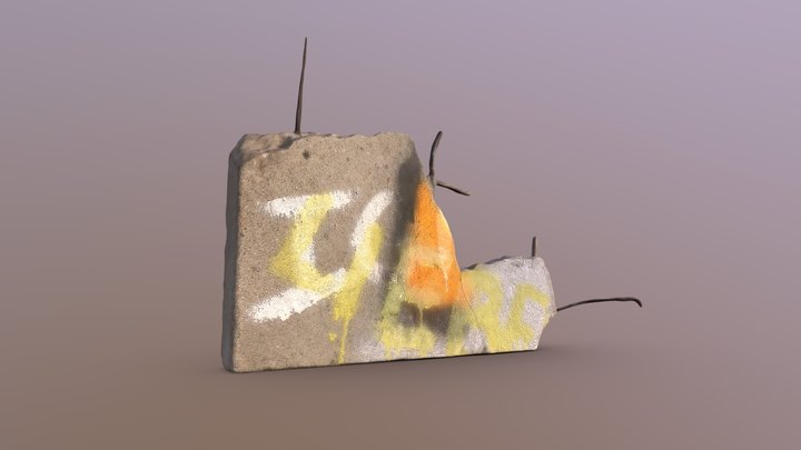Fragment of the Berlin Wall 3D Model