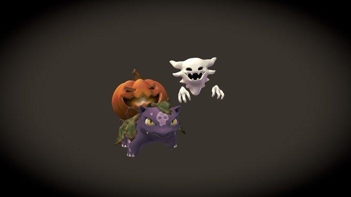 Spooky Ivysaur and Haunter 3D Model