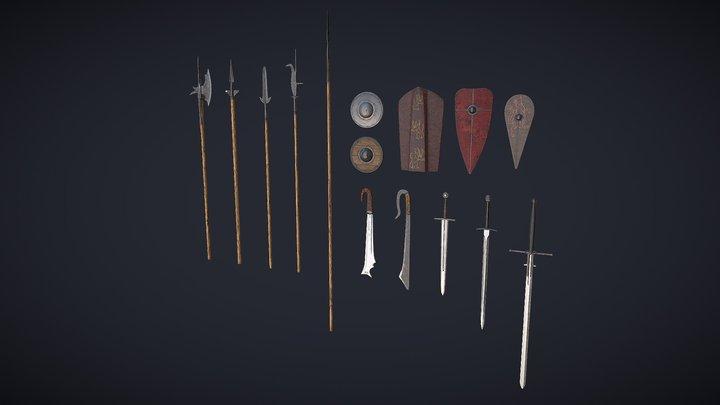 Medieval_melee_&_ranged_weapon_pack_1 3D Model