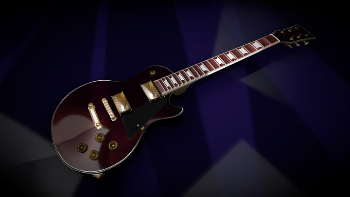 Les Paul Type Guitar BLACK CHERRY 3D Model