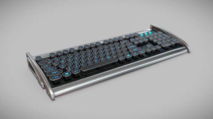 Retro Keyboard 3D Model