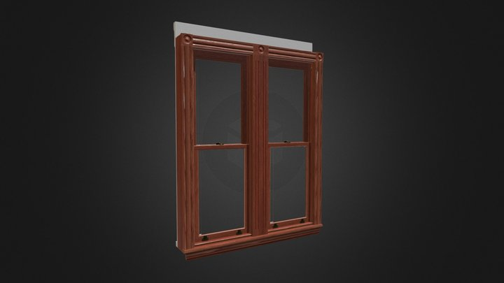 Lowpoly Antique Window (24in 2 Light Double) 3D Model