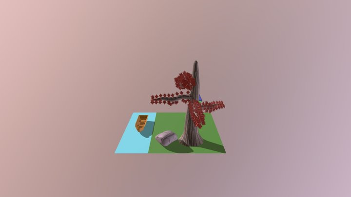 Tree And Boat 3D Model