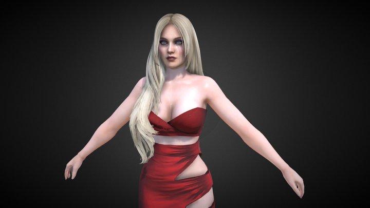 Helena Red Dress 3D Model