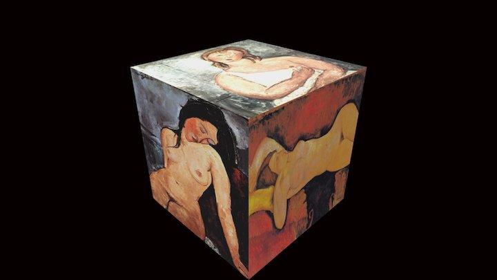 6 Nudes On A Cube Ala Modigli 3D Model