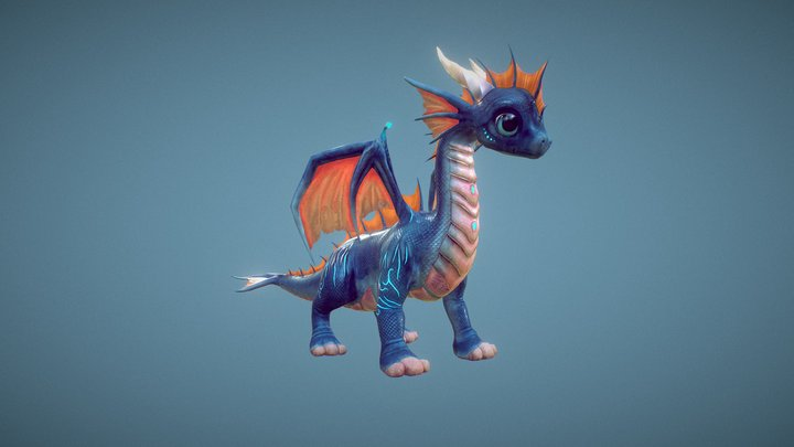 Little Dragons: Sea Realistic 3D Model